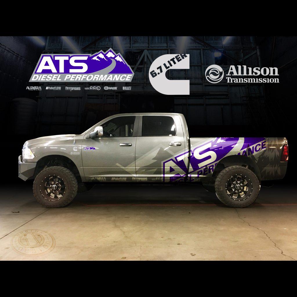 ats diesel vinyl truck wrap mockup